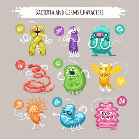 virus bacteria: Bacteria and Germs Characters Set