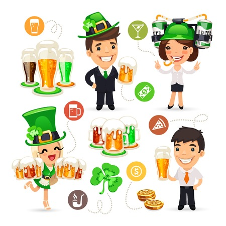patricks day: Office Workers on the Patricks Day Party Illustration