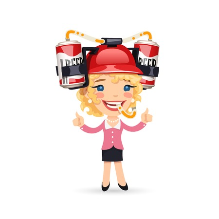 cartoon hat: Office Girl with Red Beer Helmet on Her Head
