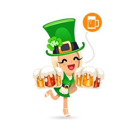 cartoon shamrock: Waitress on the Patricks Day Party Illustration