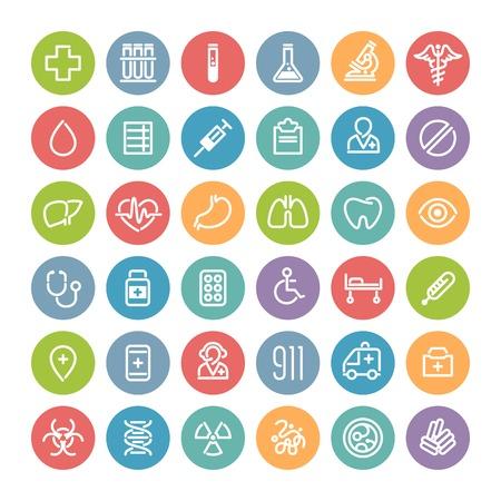 emergencia medica: Conjunto de iconos m�dicos planas redondas