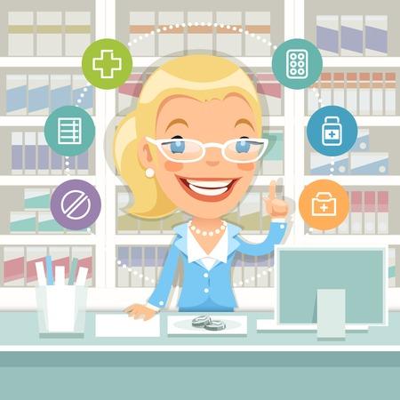 caricatura: Farmacéutico mujer detrás del mostrador Vectores