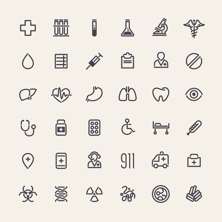Set of 36 Medical Icons Vector