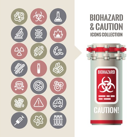 barrel radioactive waste: Biohazard and Caution Icons Collection