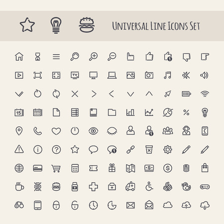 Set of Line Universal Icons. Isolated on White Background. Clipping paths included in additional jpg format.