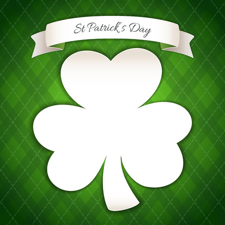 cartoon shamrock: St Patricks Day Poster with Paper Clover