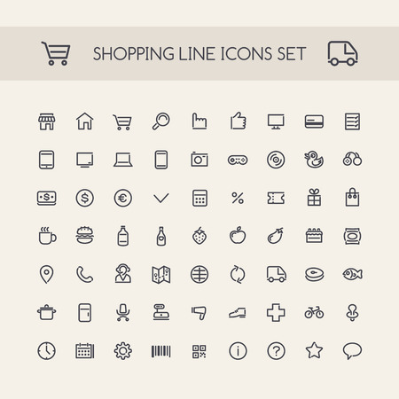 home shopping: Shopping Line Icons Set Black. Clipping paths included in additional jpg format.