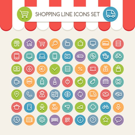Shopping Line Round Icons Set. Clipping paths included in additional jpg format. Vector