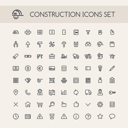 albañil: Conjunto de Línea Ronda de iconos de la construcción. Aislado en el fondo blanco. Caminos de recortes incluidos en formato jpg adicional. Vectores