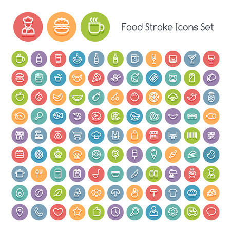 round icons: Set of Stroke Round Food Icons. Isolated on White Background. Clipping paths included in additional jpg format.