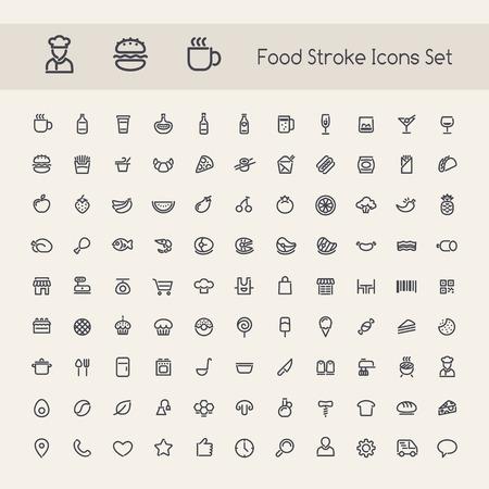 pan y vino: Conjunto de Stroke Food Icons. Aislado en el fondo blanco. Caminos de recortes incluidos en formato jpg adicional.