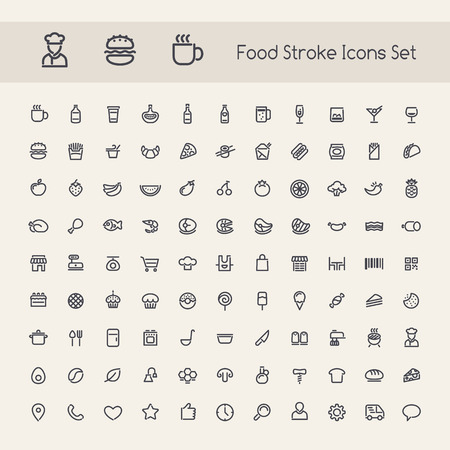 Jogo do curso Food Icons. Isolado no fundo branco. Trajetos de grampeamento incluídos em formato jpg adicional.