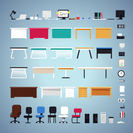 tables: Office Furniture Set Illustration