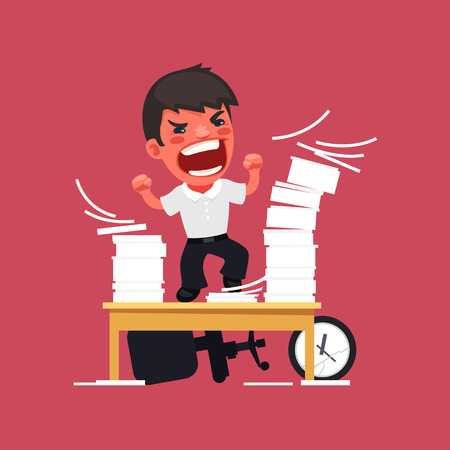 office chaos: Hysterical Angry Manager Working at the Office