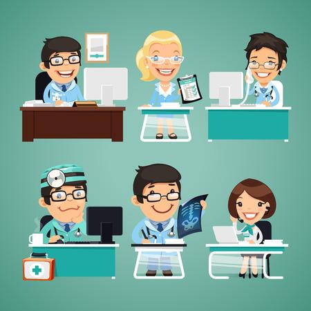 computadora caricatura: Los médicos de la tabla