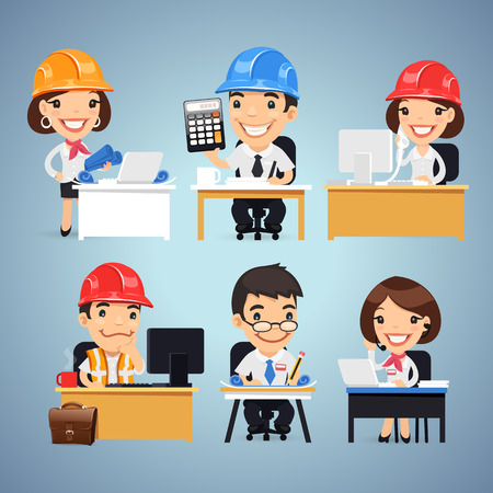 woman engineer: Engineers Cartoon Characters at the Table Set Illustration