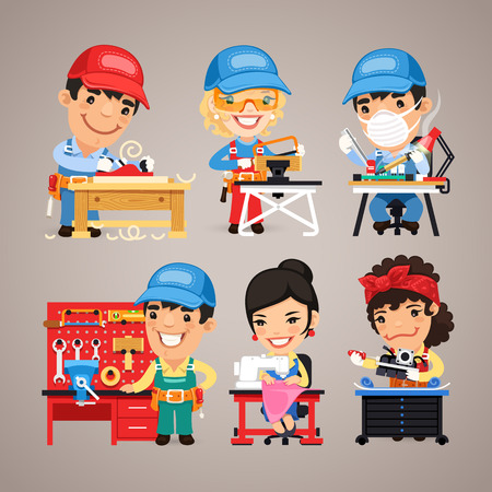 overalls: Set of Cartoon Workers at their Work Desks Illustration