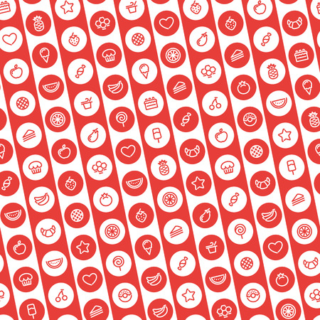 Red Striped Seamless Pattern with Dessert and Fruits Icons Vector