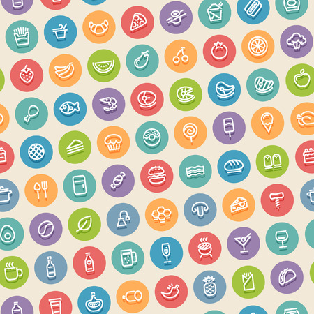 tilted: Color Tilted Seamless Pattern with Food Icons
