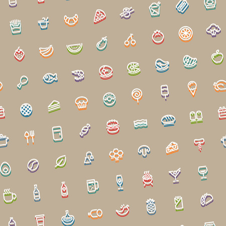 tilted: Color Tilted Seamless Pattern with Stroke Food Icons Illustration