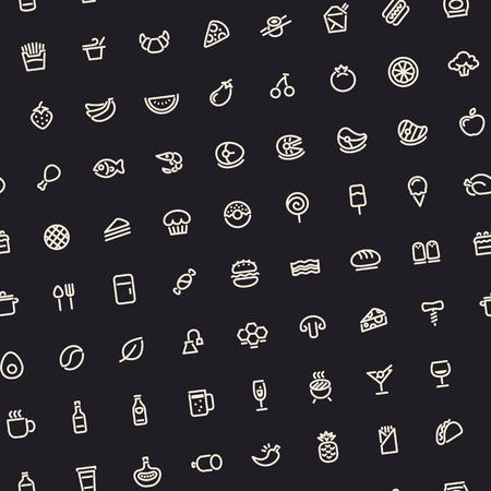 Dark Tilted Seamless Pattern with Light Food Icons Stock Illustratie