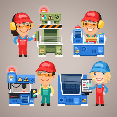 Set of Cartoon Workers Working on the Factory Machines  イラスト・ベクター素材