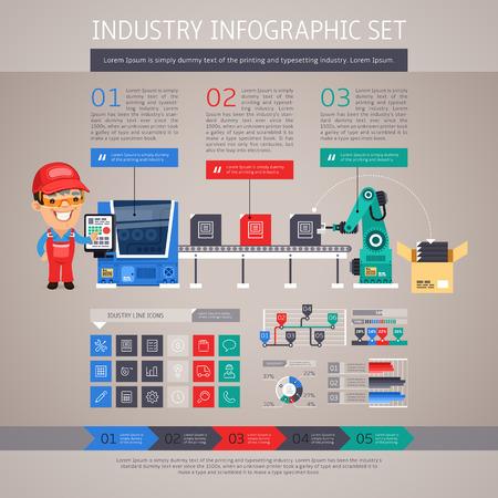 bras robot: Industrie Infographie Set avec usine Convoyeur et Robot Arm