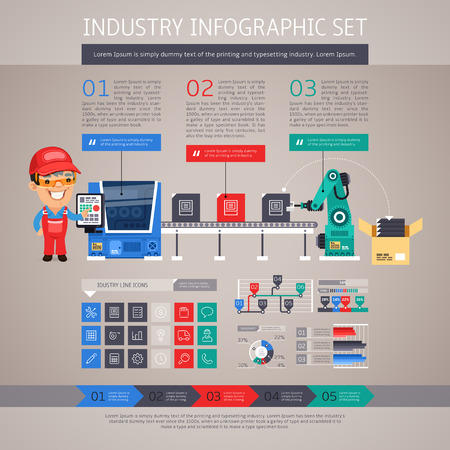 conveyor: Industry Infographic Set with Factory Conveyor and Robot Arm