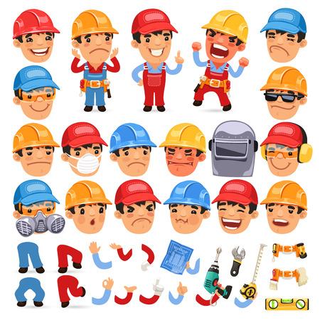 ingeniero caricatura: Conjunto de trabajador de dibujos animados para su diseño o Aanimation