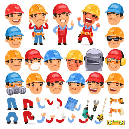carpenter: Ensemble de travailleur Cartoon Character pour votre conception ou Aanimation
