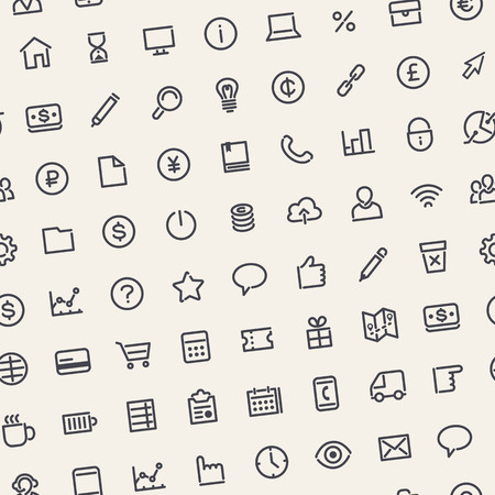 Light Seamless Business Background with Line Icons Illustration