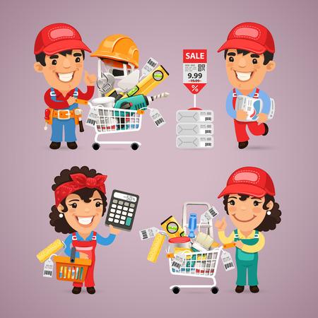 mujer en el supermercado: Trabajadores Compras de Materiales de bricolaje para la reparación del apartamento