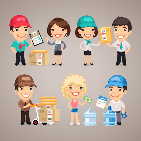 paper delivery person: Delivery Service Characters Set Illustration