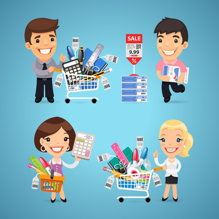 woman shopping cart: Buyers in Stationery Shop