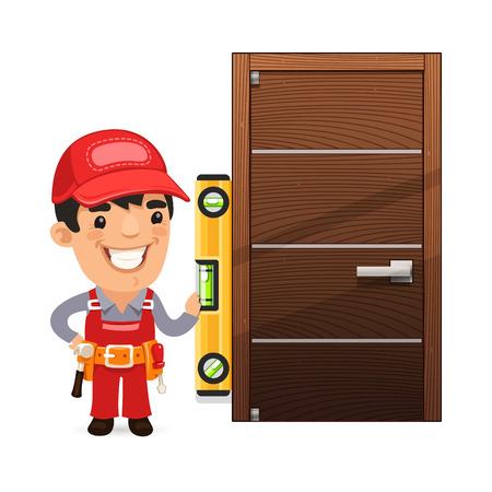 repair man: Carpenter Checks the New Door