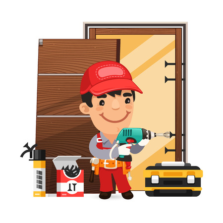 install: Carpenter Installs the Door Illustration