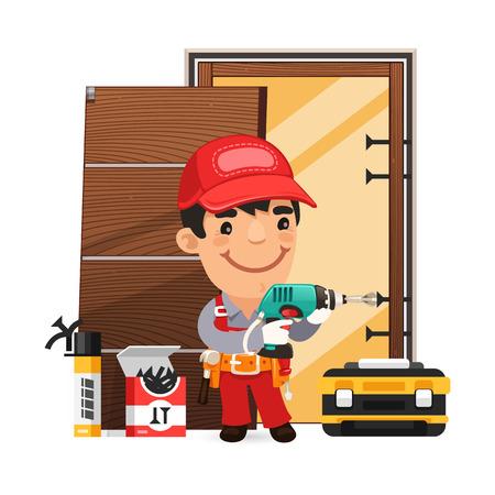 mechanic cartoon: Carpenter Installs the Door Illustration