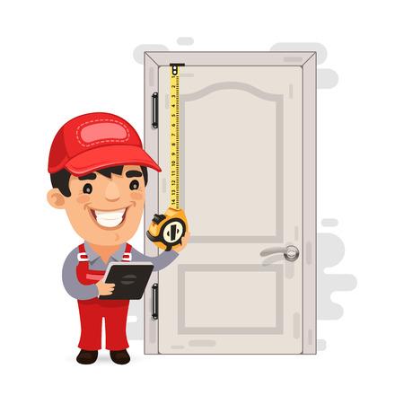 목수는 오래 된 문을 측정합니다. 일러스트