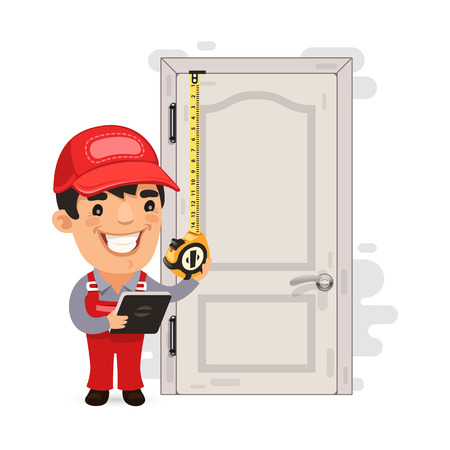measures: Carpenter Measures the Old Door Illustration