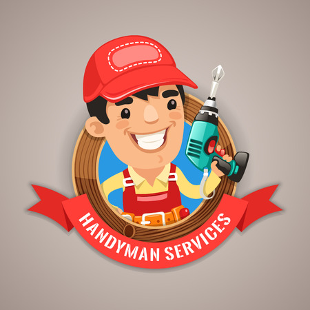 worker cartoon: Handyman Services Emblem