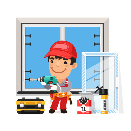 Carpenter Installs the New Window
