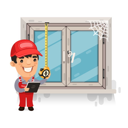 cartoon window: Carpenter Measures the Old Window