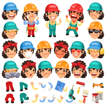 Set of Cartoon Lady Worker Character for Your Design or Animation Vectores
