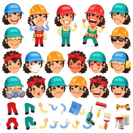 builder: Conjunto de Se�ora trabajador de dibujos animados para su dise�o o animaci�n