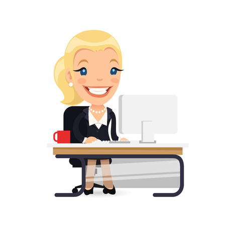 at her desk: Business Lady at Her Desk Illustration