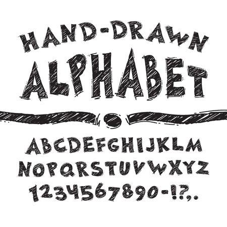 dessin noir et blanc: Alphabet dessin� main Illustration