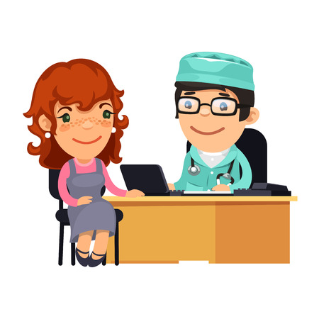 Woman Having Medical Consultation in Doctors Office Vector