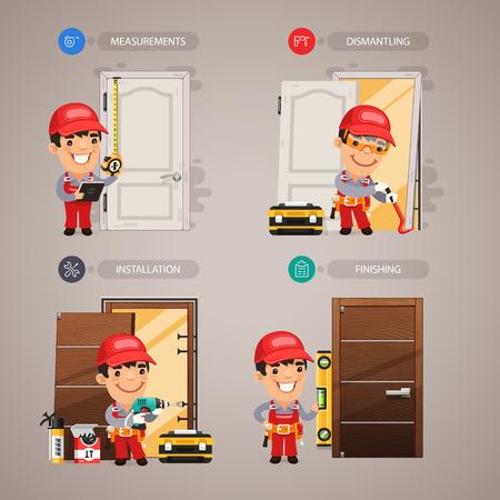 carpintero: Paso a paso de instalación de la puerta con Manitas del carpintero Vectores