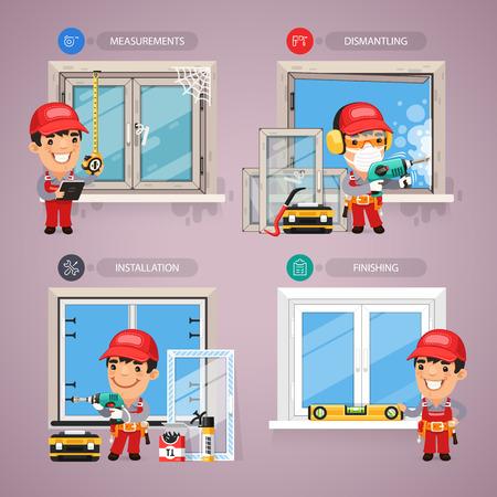 mechanic cartoon: Window Installation Step by Step with Handyman Carpenter