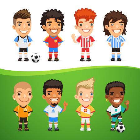 sports uniform: Cartoon International Soccer Players Set